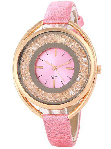 Unique Faux Leather Rhinestone Analog Quartz Watch