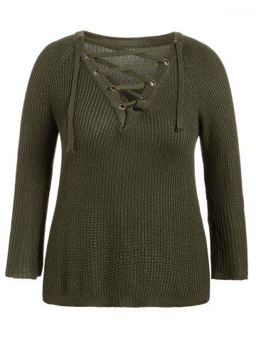 V Neck Lace-Up Pullover Knit Sweater - Army Green - One Size