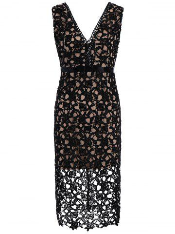 Outfit Sleeveless Lace Crochet Fitted Plunge Dress