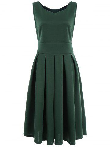 Ruched Sweetheart Neck Midi Dress - Green - S