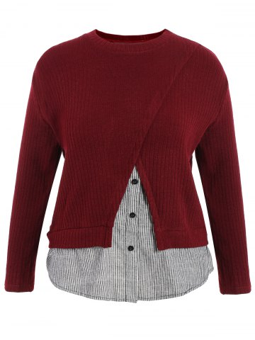 Sale Plus Size Ribbed Striped Panel Sweater