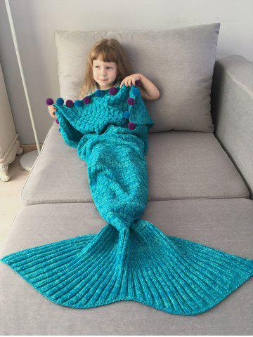 Pom Ball Embellished Crochet Knit Mermaid Blanket Throw For Kids - Lake Blue - 5xl