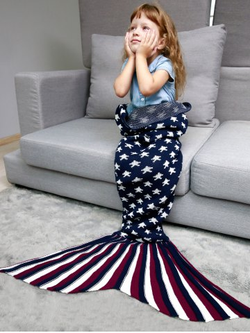 Stars and Stripes Knit Mermaid Blanket Throw For Kids Bleu Violet