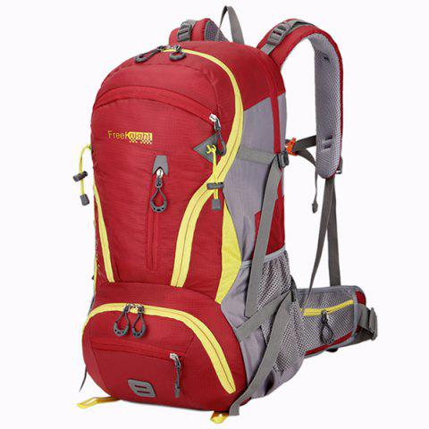 Outfit Multi Zips Nylon 45L Mountaineering Backpack - RED  Mobile