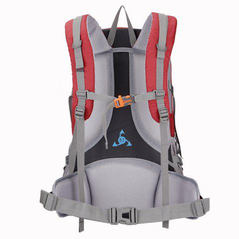 Discount Multi Zips Nylon 45L Mountaineering Backpack - RED  Mobile