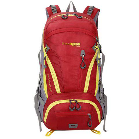 Chic Multi Zips Nylon 45L Mountaineering Backpack - RED  Mobile