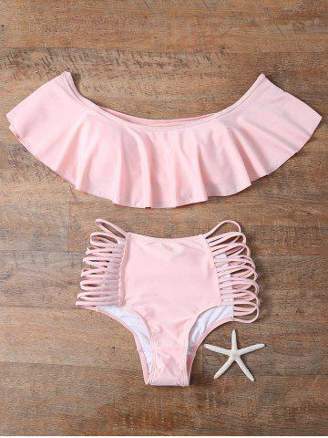 Buy Flounced Off The Shoulder Cutout Bikini Set PINK L