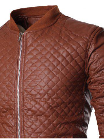 Fancy Stand Collar All Over Rhombus PU Jacket - XL BROWN Mobile