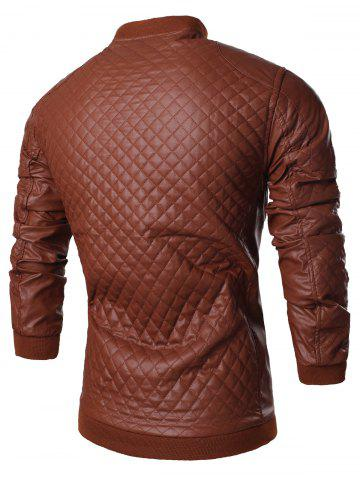Affordable Stand Collar All Over Rhombus PU Jacket - XL BROWN Mobile