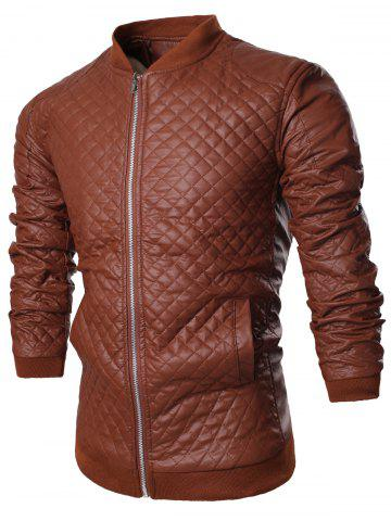 Stand Collar All Over Rhombus PU Jacket - Brown - L