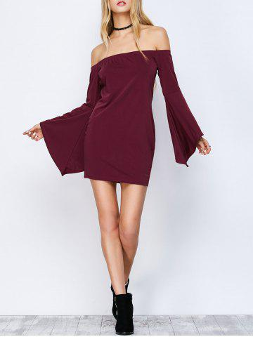 Fancy Off-The-Shoulder Bell Sleeve Bardot Party Bodycon Dress WINE RED M