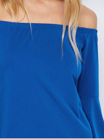 Latest Off-The-Shoulder Bell Sleeve Bardot Party Bodycon Dress - XL BLUE Mobile
