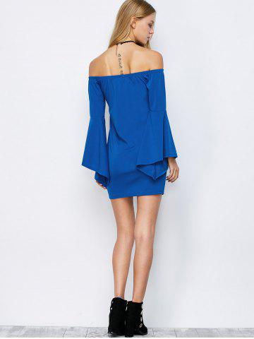 Online Off-The-Shoulder Bell Sleeve Bardot Party Bodycon Dress - XL BLUE Mobile