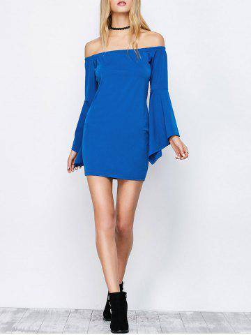 Off-The-Shoulder Bell Sleeve Bardot Party Bodycon Dress - Blue - M
