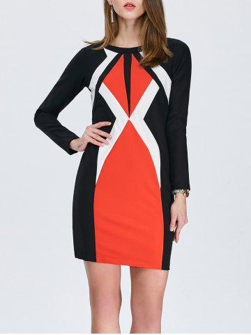 Online Color Block Long Sleeve Pencil Work Dress