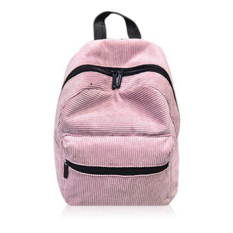 Front Pocket Corduroy Backpack - PINK