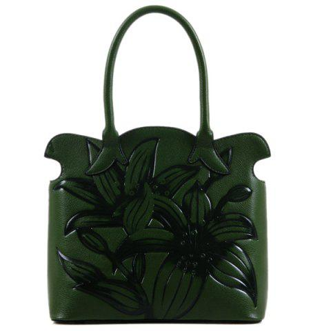 Tote Bag with Floral Embossed - GREEN