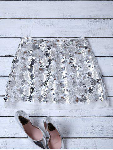 Best Sequins Mini Skirt - L SILVER Mobile