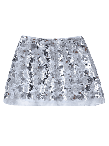 Outfits Sequins Mini Skirt - L SILVER Mobile