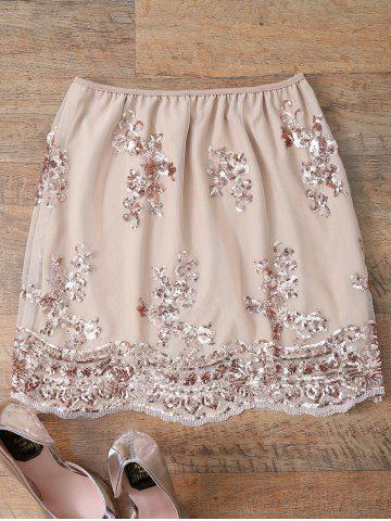 Latest Sequin A Line Skirt - L PINKBEIGE Mobile