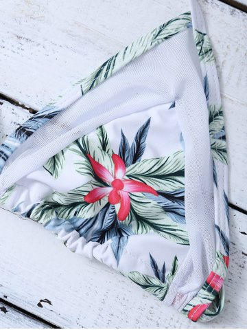 Affordable Mesh Panel Palm Leaf Floral Plunge Bikini - M WHITE Mobile