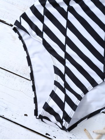 Cheap Striped One Piece Cutout Bathing Suit - L WHITE AND BLACK Mobile
