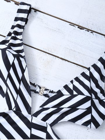 Fancy Striped One Piece Cutout Bathing Suit - L WHITE AND BLACK Mobile