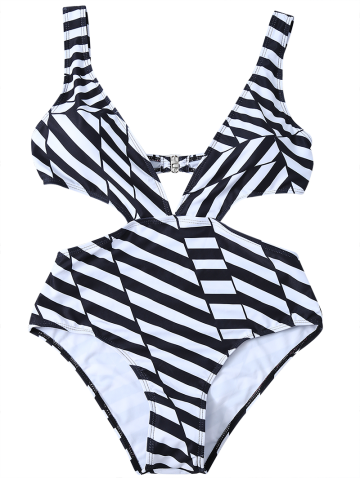 Fashion Striped One Piece Cutout Bathing Suit - S WHITE AND BLACK Mobile