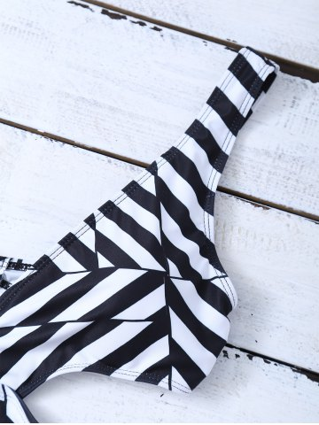 Sale Striped One Piece Cutout Bathing Suit - S WHITE AND BLACK Mobile