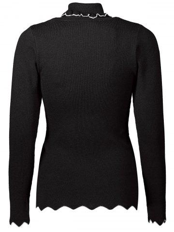 Cheap Turtleneck Zigzag Hem Knitwear - ONE SIZE BLACK Mobile