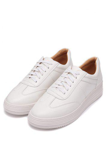 Buy Tie Up PU Leather Athletic Shoes - 37 WHITE Mobile