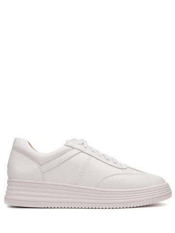 New Tie Up PU Leather Athletic Shoes WHITE 37