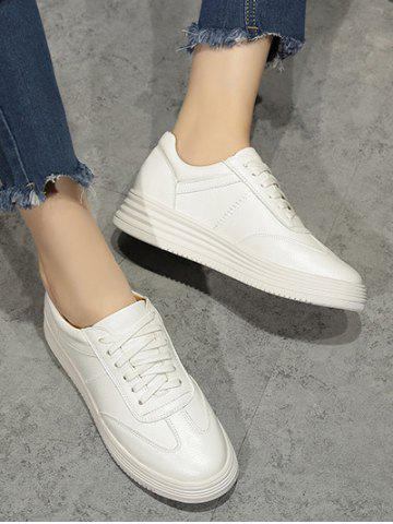 Store Tie Up PU Leather Athletic Shoes - 37 WHITE Mobile
