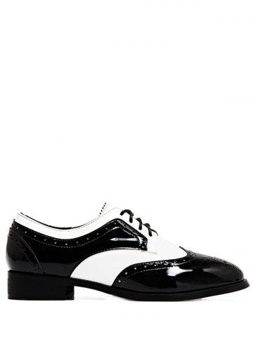 Two Tone Lace Up Flat Shoes - White And Black - 37