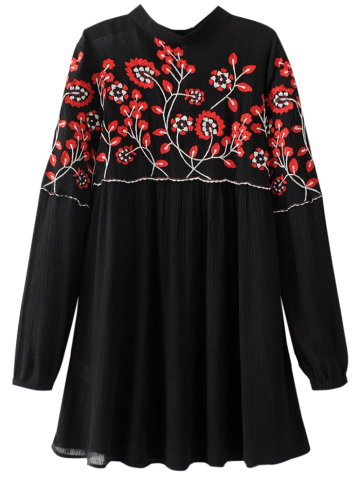 Best Long Sleeve Embroidered Floral Mini Dress BLACK L