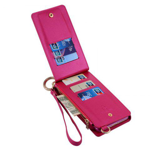 Outfits Multifounction Faux Leather Card Slot Flip Wallet Case For iPhone - FOR IPHONE 7 PLUS ROSE MADDER Mobile