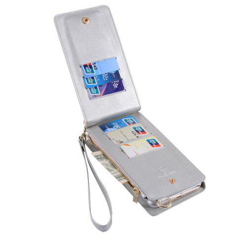 Buy Multifounction Faux Leather Card Slot Flip Wallet Case For iPhone - FOR IPHONE 7 SILVER Mobile