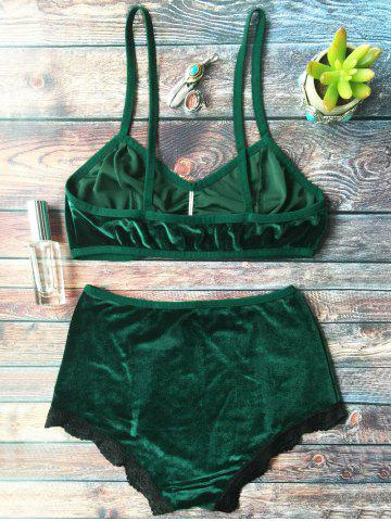 Buy High Waisted Lace Hem Velvet Bra Suit - M BLACKISH GREEN Mobile