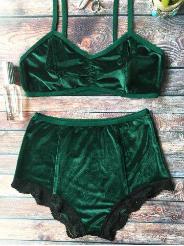 Store High Waisted Lace Hem Velvet Bra Suit - M BLACKISH GREEN Mobile