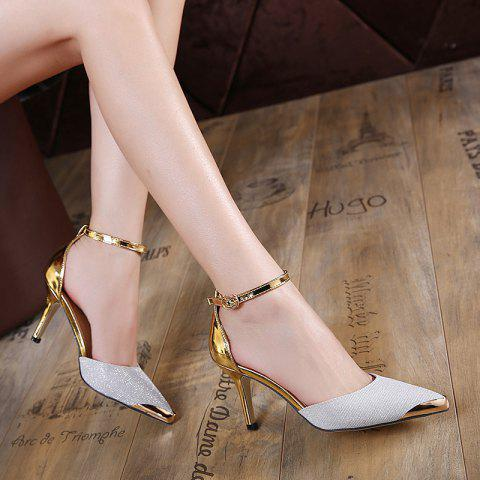 Hot Metal Toe Two Piece Pumps SILVER 40