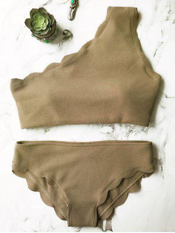 Sale One Shoulder Scalloped Bikini Set GREY OLIVE L