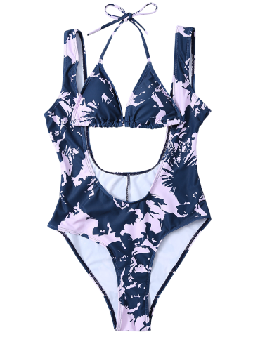 Chic Printed Low Cut Swimsuit and Bikini Top - M BLUE AND PINK Mobile