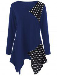 Plus Size Polka Dot Trim Asymmetrical Long Sleeve T-Shirt