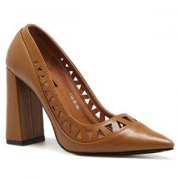 Hollow Out Faux Leather Pumps