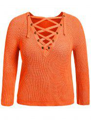 V Neck Lace-Up Pullover Knit Sweater
