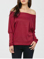 Skew Collar Batwing Sleeve Top