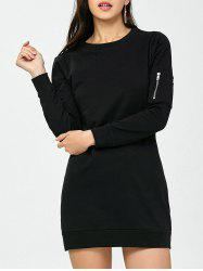 Long Sleeve Zippered Short Dress - BLACK