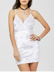 Criss Cross Backless Velvet Short Club Bodycon Dress - WHITE