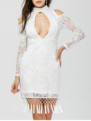 Cut Out Tasseled Bodycon Lace Dress