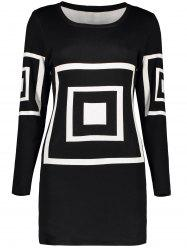 Geometric Short Fitted Sweater Dress